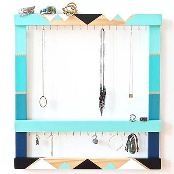 Jewelry Holder - Hand-Painted Geometric Design - Geometric Jewelry Display - Wall Mounted Wood Jewelry Holder - Necklace Storage - Turquoise