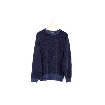90s dark blue velvety sweater / velour knit / velvet / vintage 1990s / minimal / SOFT / minimalist / basic / crewneck / unisex / mens large