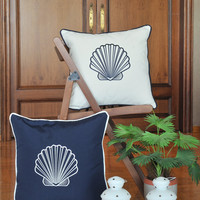 SEA SHELLS indoor-outdoor pillow,embroidered  cushion cover, 20x20 pillow