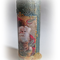 Vintage Christmas Candle.Gold Christmas. Christmas Decorations. Vintage Christmas. Santa Claus . Decoupaged Candle. Cristmas Tree.