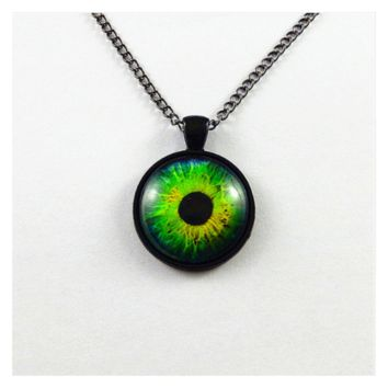 Dragon Eye Glass Green Pendant Necklace for Women