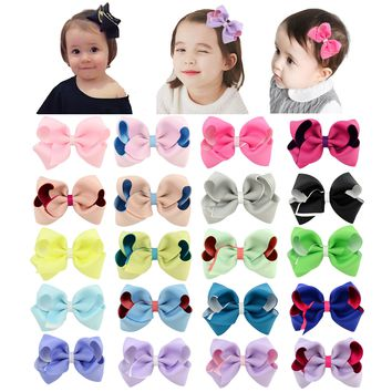 "20 Pcs/Lot Grosgrain 4"" Bi-color Hair Bow with Covered Clips for Baby Girl Toddlers Kids Children Women Handmade Barrettes Hair Accessories"