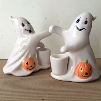 Ghost Candle Holders, OCI Fitz and Floyd, Spooky Ghost, Vintage Halloween, Scary Party Decor, White Ceramic Ghosts, Halloween Trick or treat