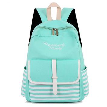 Fashion Striped Laptop Backpacks Canvas School Bags For Teenage Girls Printing Backpack Women Bag Mochilas