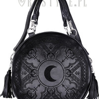 """""""HENNA BLACK ROUND BAG"""" Moon embroidery handbag, witchy purse with moon & tessels"""