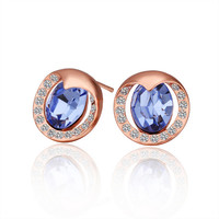 Light Blue Crystal Rose Gold Plated Earring
