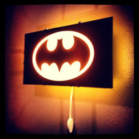 Batman, Bat Signal light, Gotham City, wall decal, boys room decor, superhero decal, wall art, wall sticker, by Otrengraving on Etsy