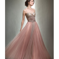 Mignon Quartz Pleated Chiffon Evening Gown