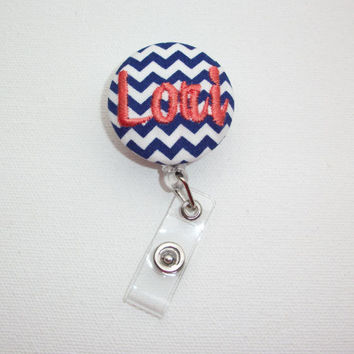 Retractable ID Badge Holder Reel  - Fabric Button -  Chevron with monogram name custom
