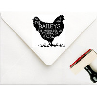 Chicken Return Address Stamp - Personalized Chicken Address Stamp - Farm Address Stamp - Gift For the Chicken Lover - Farmhouse Gift