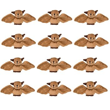 Bulk 12 Pack Bats 4 Inch Stuffed Animals, Bundle Zoo Animal Toys, Forest Party Favors for Kids