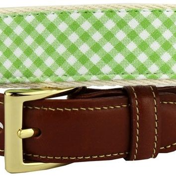 Gingham Leather Tab Belt in Lime Green by Country Club Prep