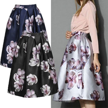 Elegant Ladies Women Retro A-line High Waist Big Flower Print Pleated Swing Skirt 7_S SV018996 = 1919630404