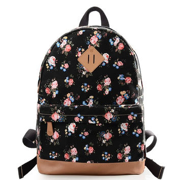 Black Fashion Casual Preppy Style Backpack