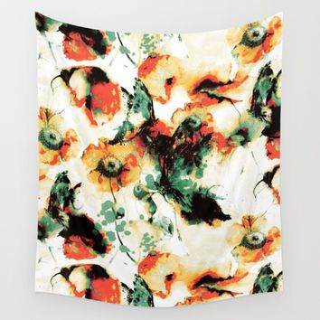 Flowers And Butterflies Wall Tapestry by RIZA PEKER