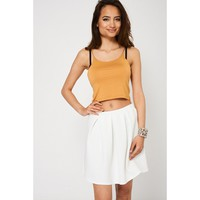 White Mini Polyester Skirt