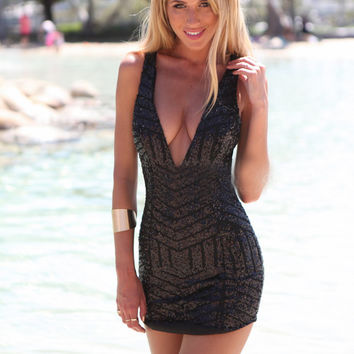 Black Sequined V-neck Sleeveless Mini Bodycon Dress