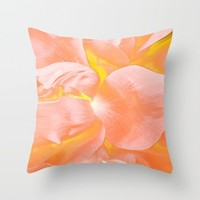 The Light Inside Flower Abstract in Peachy Pink Throw Pillow by Jen Warmuth Art And Design