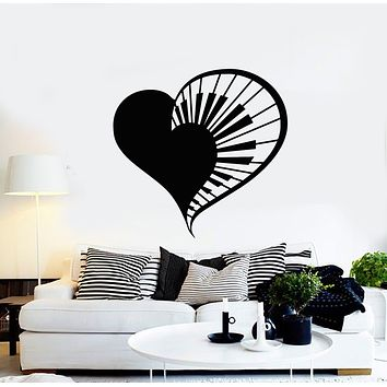Vinyl Wall Decal Heart Piano Key Music Love Girl Room Stickers Mural (g735)