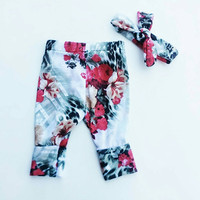 Flower leggings, flower pants, floral, pants and headband, newborn leggings ,flower headband, red rose, spring pants ,red flowers, pajama