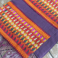 Ethnic Womens Scarf In Laos Woven Cotton On Eggplant With Fringe Gift