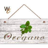 "Oregano Sign, Garden Sign, Rustic Decor, Herb on Distressed Wood, Weatherproof, 5"" x 10"" Sign, House Gift, Gift For Gardener, Made To Order"