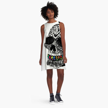 Personality Fashion Casual Multicolor Skull Head Print Round Neck Sleeveless Loose Mini Dress
