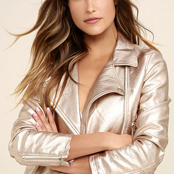 One and Stun Rose Gold Vegan Leather Moto Jacket