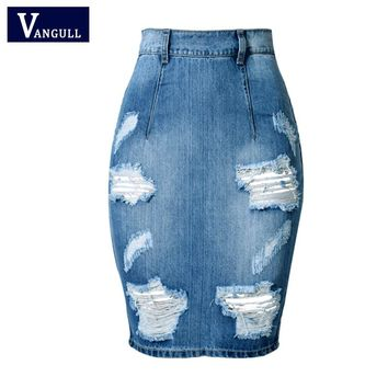 Hole Design Back Split Slim Bandage Skirts 2017 Fashion High Waist Vintage Skinny Mini Bodycon Pencil Women Denim Jeans Skirt