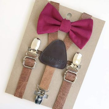 Cranberry Baby & Toddler Bow Tie w/Leather Suspenders