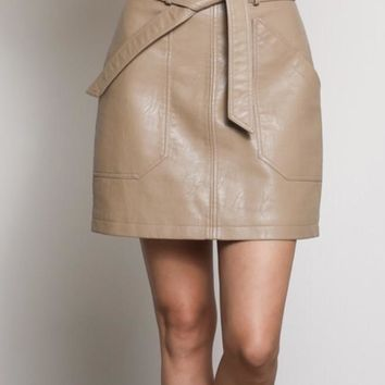 Lisa Belted Leather Skirt