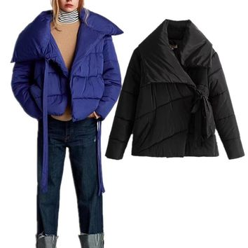 Female Anorak Puffer Jacket Winter Women Asymmetric Collar Bow-knot Black Coat Lady Fashion Streetwear Baseball Spliced Outwear
