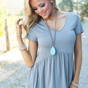 A Little Bit of Ruffles Top Gray