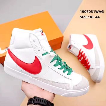 Nike Blazer Mid Tide brand two-color hook high-top shoes