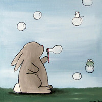 Kids Wall Art, Original Painting, Bunny Blowing Bubbles by Andrea Doss