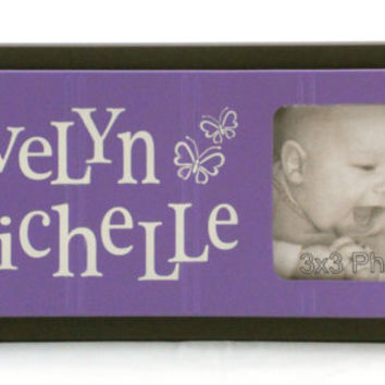 Purple and Brown Butterfly Nursery Wall Art, Personalized Baby Picture Frames, Baby Girl Nursery Decor Photo Frame Custom Order Name Signs