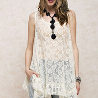 Sheer Crochet Lace Tank Ruffled Tunic