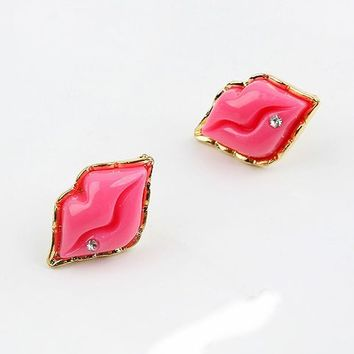 Pink Red Lips Sexy Fashion Stylish Ear Studs Earrings Jewelry