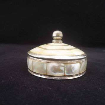 Vintage Silver Plated and Mother of Pearls Trinket Box, Shell Inlaid Vanity Box, Jewellery Box