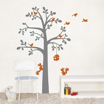BIG SIZE 165X200CM Vinyl Wall Decals For Kids Tree Squirrels And Birds Wall Art Stickers  Baby Nursery Rooms Decoration KW-106