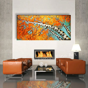 "Painting 60"" Silver Birch, Abstract Painting - Oil Painting , Original and Handmade Art , Certificate Attached , By Paula Nizamas"