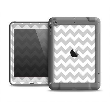 The Gray & White Chevron Pattern Apple iPad Air LifeProof Fre Case Skin Set