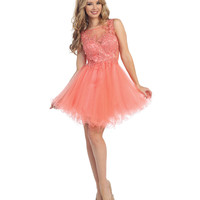 Coral Lace Open Back Short Dress 2015 Homecoming Dresses