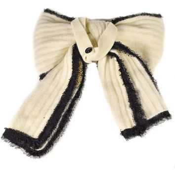 Chanel Scarf Necklace 2009 Fall Runway Mohair Blend Scarf White Black