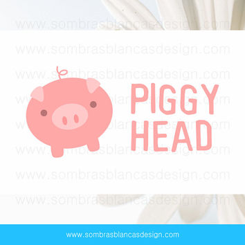 OOAK Premade Logo Design - Cute Pig - Perfect for a children clothing brand or a handmade toys shop