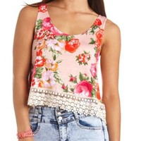 Crochet-Trimmed Swing Floral Crop Top - Blush Combo