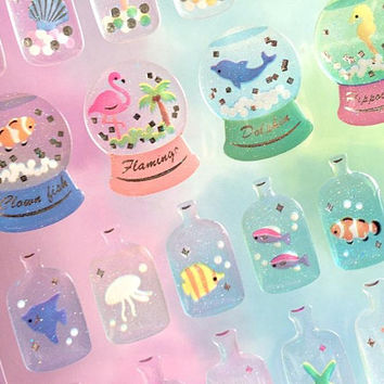 Seashell sea animal water globes sticker sand bottle beautiful sea world fish sell starfish Epoxy sticker fancy glass bottle mini bottle