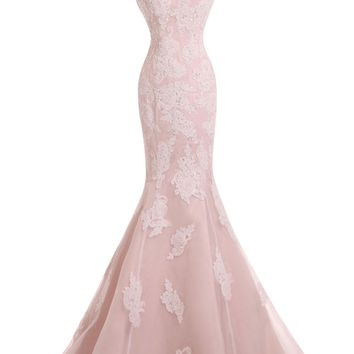 Sunvary New Mermaid Lace Prom Evening Gowns for Wedding Reception