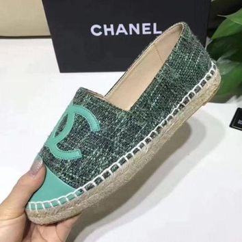 Chanel Trending Women Delicate Big Logo Espadrilles Flats Canvas Single Shoes Green I