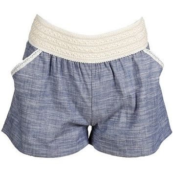 Girls Linen Shorts with Crochet Detail, Lt Denim
